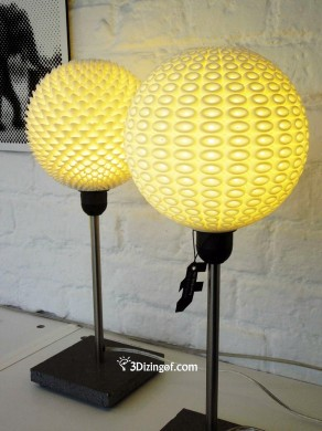 3D Printed - Sphere Ribblete + Voro Lamp Shades by Dizingof -2