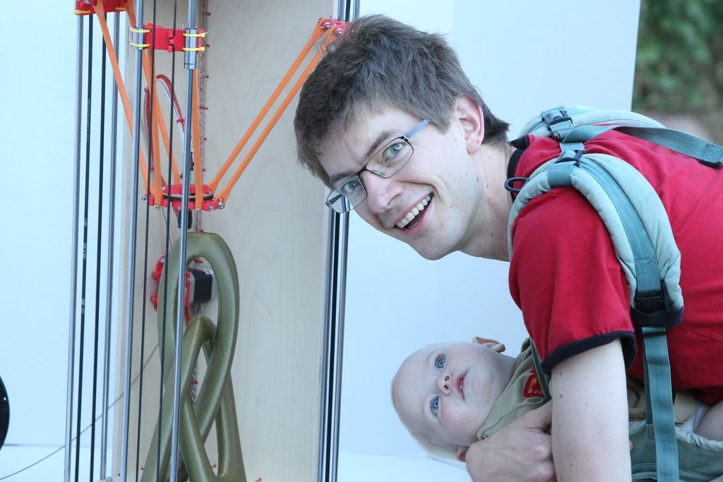Johann Rocholl the inventor of the Rostock 3d printer is watching his new baby