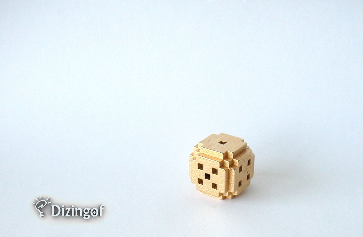 8bit Gold plated stainless steel dice by dizingof
